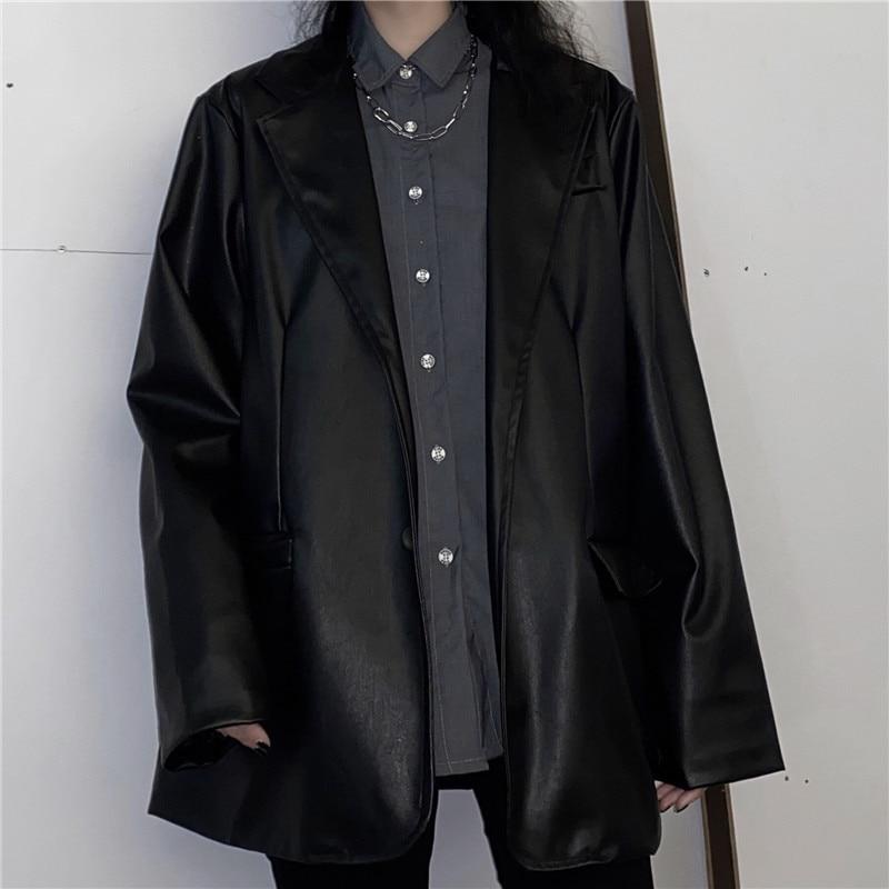 2020 Black Faux Leather Suit Jacket Ladies Blazer Single Breasted Coat Korean Women Outwear