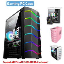 Desktop Gaming Computer PC Case Fan Cooling USB 2.0 Game RGB Light Effect Support ATX/M-ATX/MINI-ITX Motherboard Gamer Chassis