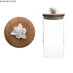 Image 5 - İskandinav yaratıcı seramik çiçek kahve çekirdeği şeker mühürlü kavanoz dekoratif cam kavanoz mutfak büyük saklama kavanozları ahşap kapaklı