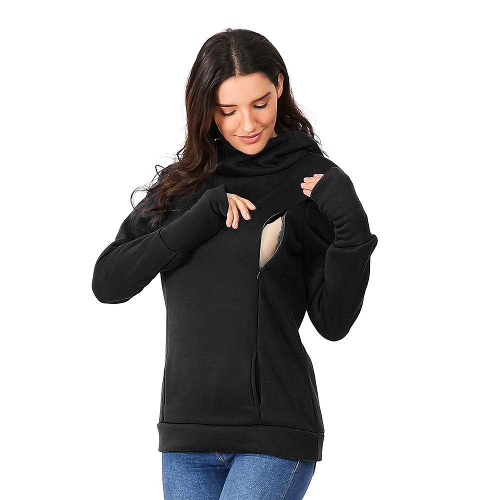 Women's Nursing Maternity Long Sleeves Hooded Sweatshirts Breastfeeding Hoodie Sweatshirts Solid Cowl Neck Maternity Top HOOLER