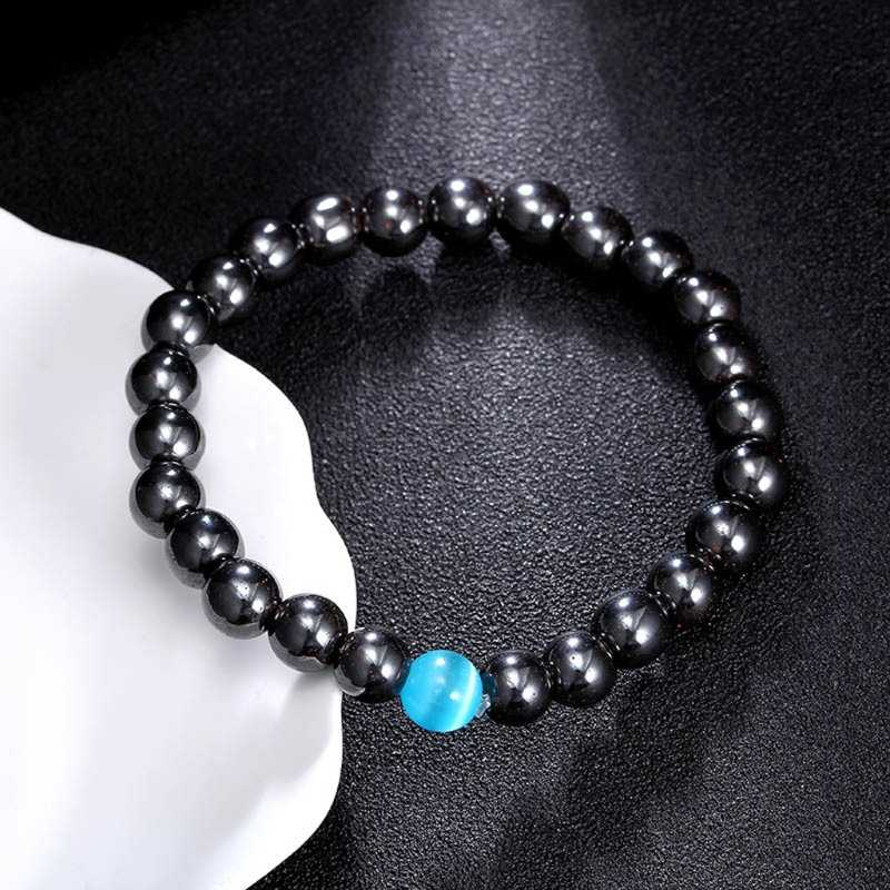 Magnetic Beaded Simulated Hematite Stone Bracelet Men's Jewelry WIth Blue Opals LX9D