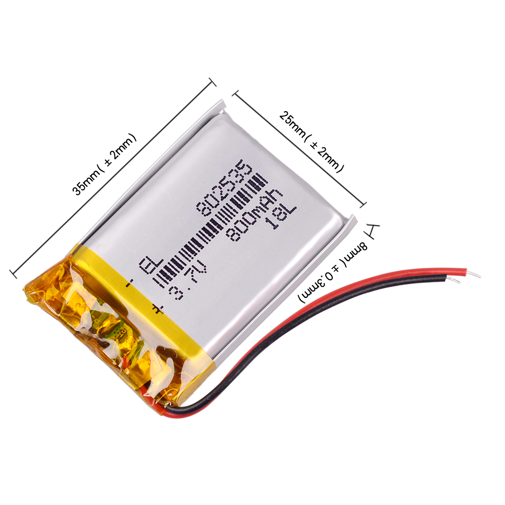 3.7V 802535 800mAh Li-ion Polymer Lithium Battery Bluetooth Headphones Column DVR  Portable Speaker Bicycle Flashlight  Remote