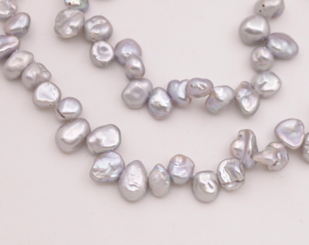 "Купить с кэшбэком 6mm-9mm Top Hole Silver Gray Baroque Pearl Loose Beads 15.5"" Inches"