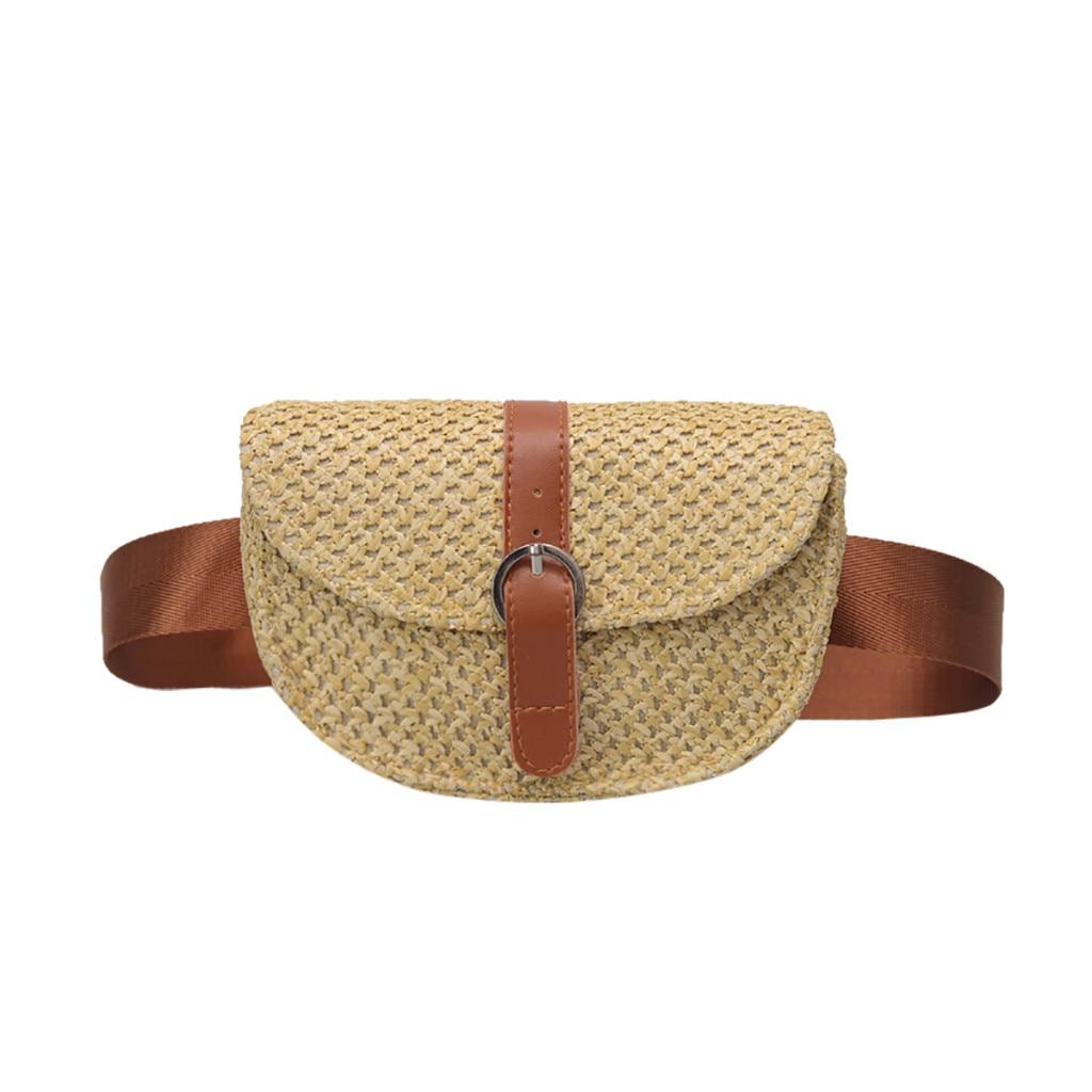 Women Wasit Bag Fashion Women Solid Straw Adjustable Shoulder Bag With Zip Strap Simple Joker Crossbody Pocket Bag #LL