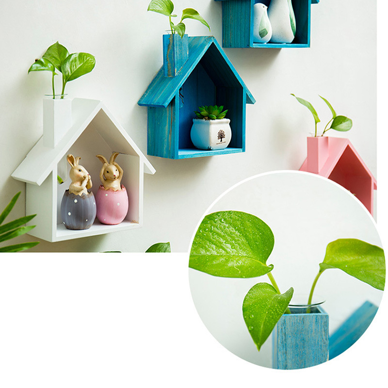 Wooden House Shape Storage Shelf Wall-mounted Hanging Display Wall Decor Hydroponic Plant Shelf Living Room Bedroom Shelf Rack