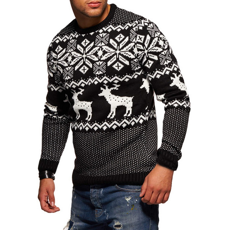 Sfit Mens Causal Sweater Christmas Pullover O Neck  Deer Printed Autumn Winter Knitted Jumper Sweaters Slim Fit Male Clothes