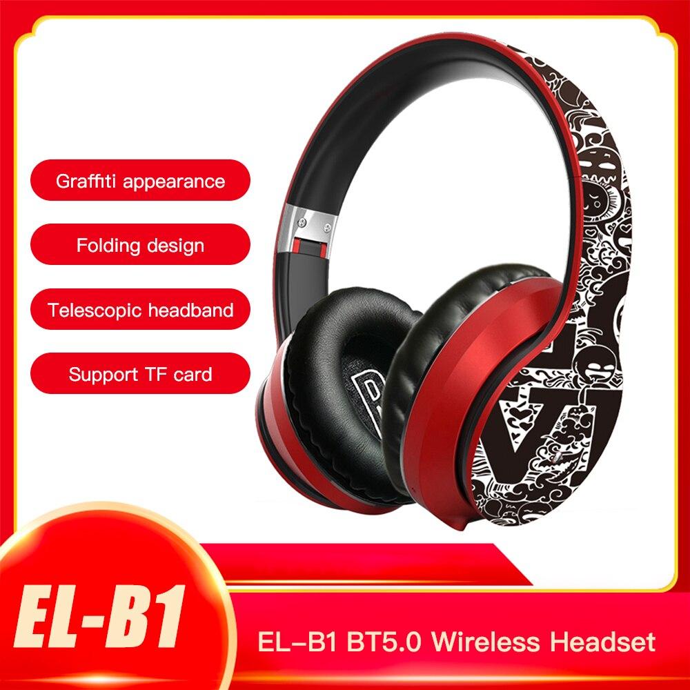 Docooler EL-B1 BT5.0 беспроводная гарнитура 3,5 мм граффити Складная гарнитура спортивные наушники с шумоподавлением с микрофоном Поддержка TF карты