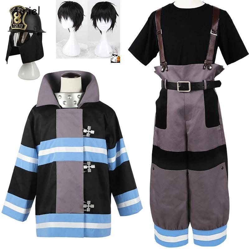 Anime Shinra Kusakabe Costume Coat Pants Jackets Fire Force Cosplay Enen no Shouboutai Fire Brigade Asa Boiru Uniform Men Boys