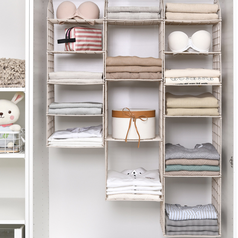 5 Layers Clothe Storage Pocket Folding Hanging Bathroom Closet Baskets Holder Organizer Bags Rack Hook Hanger Diy Saving Space
