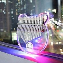 Kalimba 17-chave transparente c tom de cristal claro polegar piano dedo embutido módulo de iluminação colorida instrumentos musicais