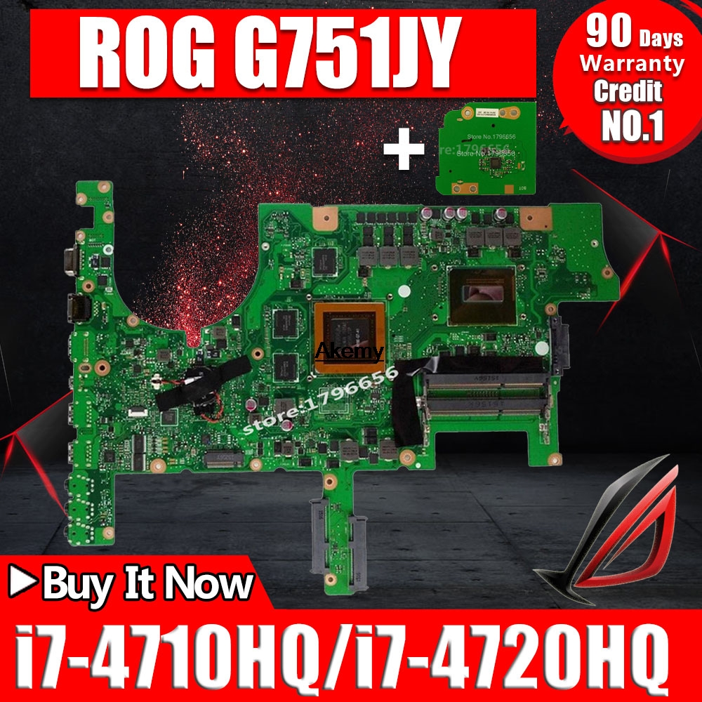 Send board <font><b>G751JY</b></font> GTX970M/3G/I7-4710HQ/4720HQ Laptop <font><b>Motherboard</b></font> For Asus ROG G751 G751J <font><b>G751JY</b></font> G751JT G751JL Notebook Mainboard image