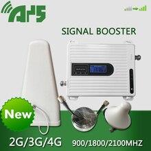 900 1800 2100 mhz إشارة الداعم 2G 3G 4G 70dB مكرر ثلاثي الفرقة الخلوية مكبر صوت أحادي GSM DCS LTE WCDMA ل هاتف محمول