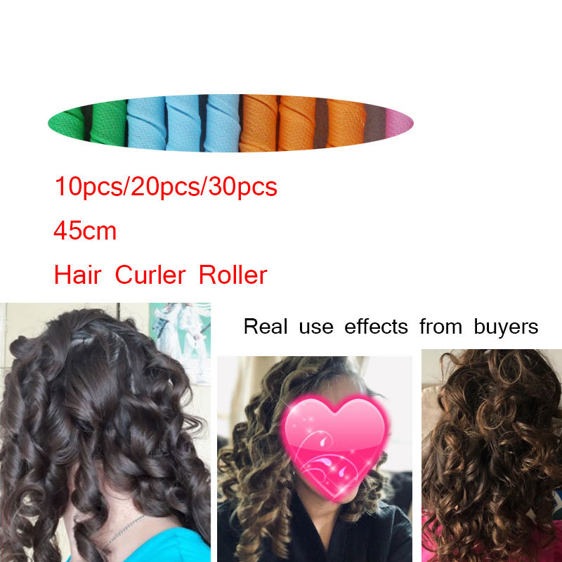 10/20/30pcs 45cm Plastic Long Diameter 2.5cm Magic Hair Curler Magic Hair Roller Spiral Curls Permanent Use