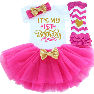 It's My 1st 2nd Birthday Baby Girl Outfits Dress for Girl Party Infant Tutu Little Girls Toddler Clothes Half of Year Baby Sets(China)