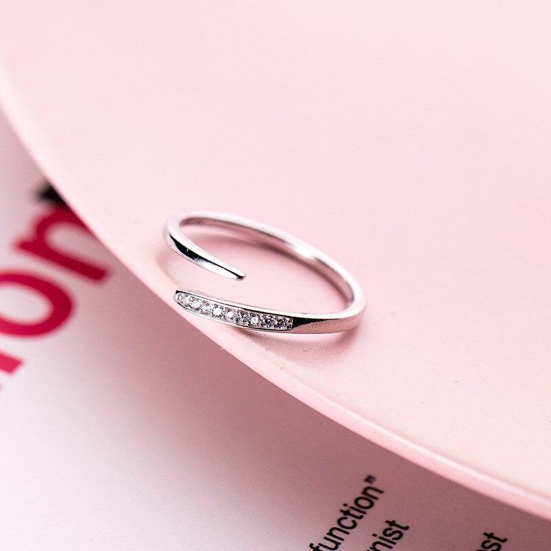 Girls 925 Sterling Silver Geometric Shape Wedding Bands Adjustable Open Midi Knuckle Cubic Zircon Finger Rings For Women