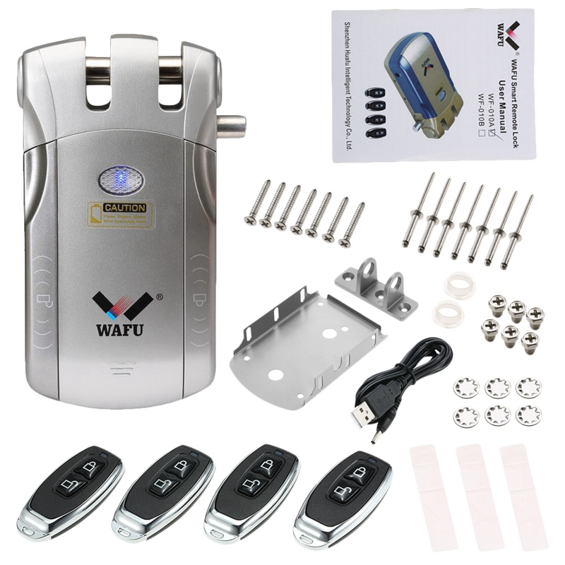 Wafu Wf-010 Wireless Electronic Door Lock Keyless Invisible Intelligent Lock With Press Locked&Unlock Button 4 Remote Control Ke
