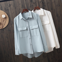 2019 new fashion white women blouse and shirts office lady elegant pocket long-sleeved female loose tops