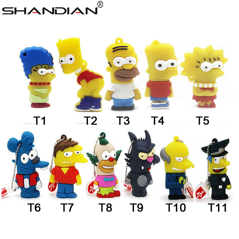SHANDIAN Bart Simpson Mouse Wolf 4GB 8GB 32GB 64GB Memory Stick U Disk PenDrive Homer Pen Drive USB Flash Drive