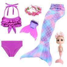 2020 ילדי בת ים זנבות לשחייה בת ים זנב בנות תלבושות Swimmable בגד ים עם ביקיני סנפיר