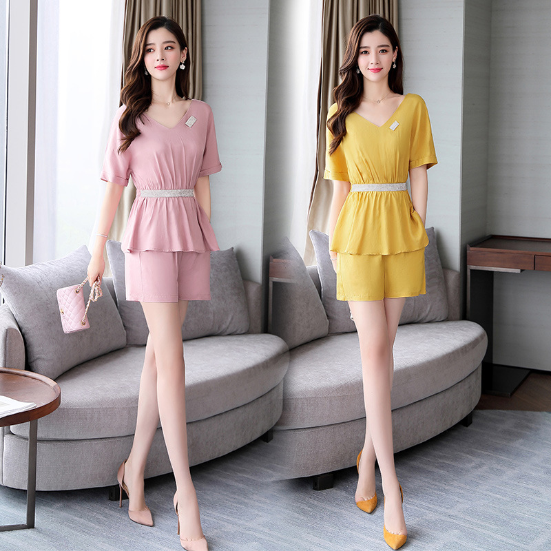 Two-Piece 2019 Summer New Style Dress Short Skirt Comfortable Convention Short Sleeve