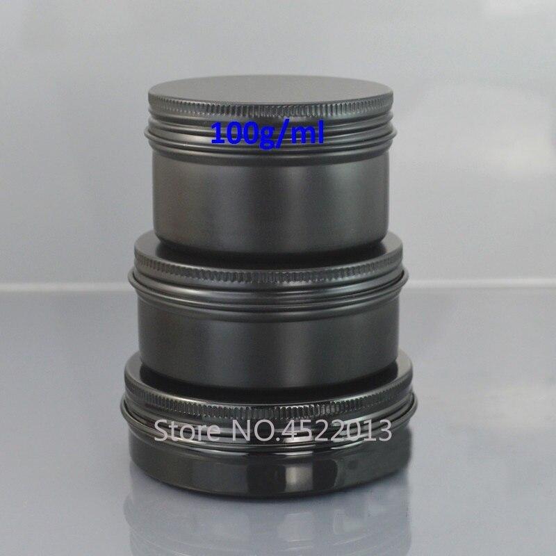 100G/ML Black Aluminum Cream Containers, Capsules Refillable Metal Case, Empty Portable Aluminum Cosmetic Mask Storage Tin Jars