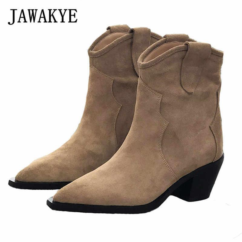 JAWAKYE sıcak satış gerçek inek deri süet yarım çizmeler kadınlar sivri burun kitten topuklu kısa çizmeler kış kovboy şövalye çizmeler kadın