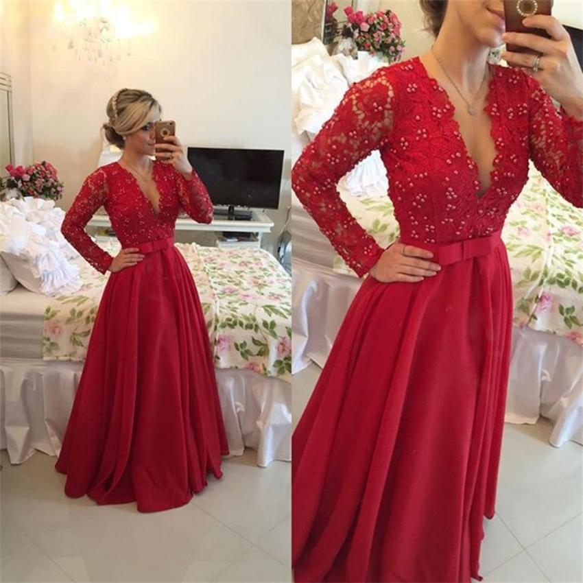 Elegant Red Long Sleeve Lace Prom Dress 2015 Sexy Deep V-Neck Sheer Back Pearls Long Evening Dress Vestidos De Fiesta