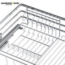 Dish-Rack Cabinet Drawer Water-Bowl-Basket-Rack Slide-Rail Damping Stainless-Steel Adjustable