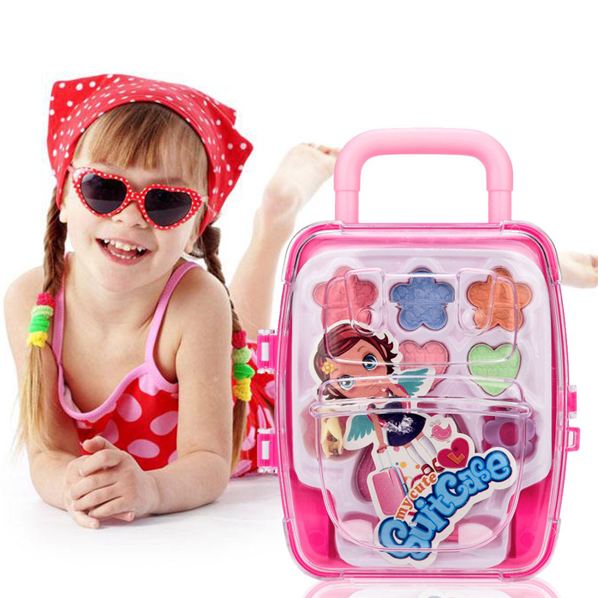 Toys For Children Girl Cute Suitcase Portable Toy Princess Girl's Pretend Play Toy Deluxe Makeup Palette Set NON TOXIC For Kid