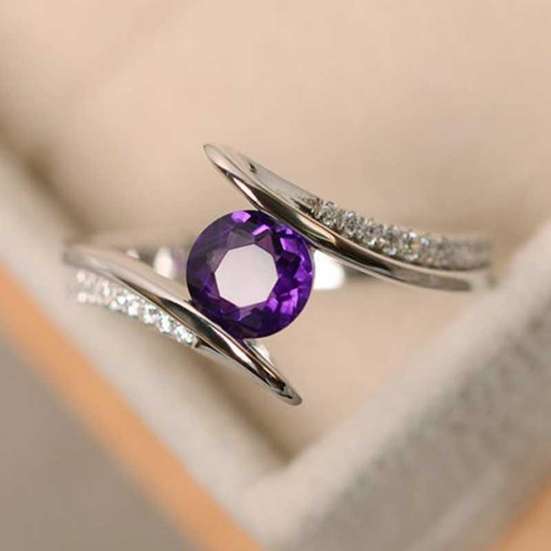 Mujer de piedra de cristal anillo de lujo Boho Vintage joyería de los anillos de boda para las mujeres