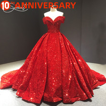 OllyMurs Vintage Sequin Cloth Wedding Dress Red Lace Up Dreamy Shoulder Large Size 100cm Trailing Wedding Dress Tailored