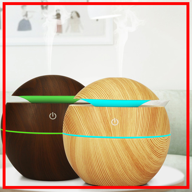 130ml Mini USB Aroma Air Humidifier Essential Oil Diffuser Wood Grain Ultrasonic Cool Mist Maker Fogger Atomizer 7 Light