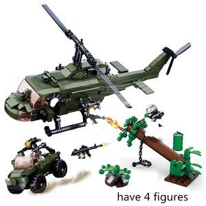 SLUBAN Helicopter Building Blocks Sets Alien Predator M18 Armored Vehicle Movie Classic Educational Toys for Children Bricks