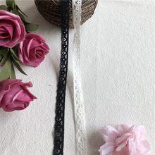 Dentelle en coton blanc noir, accessoires, tissu de couture, 1cm, pompon, frange, S1290