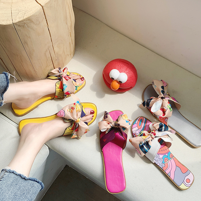 2020 New Luxury Fashion Brand Design Women's Sandals Korean Bow Flat H-shaped Slippers High Quality Ladies Shoes