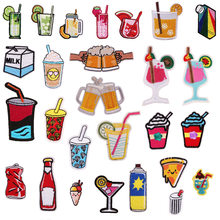 Neue Eis Trinken Cocktails Patches für Kleidung Flasche Pizza Stickerei Applique DIY Hut Mantel Kleid Hosen Zubehör Tuch(China)