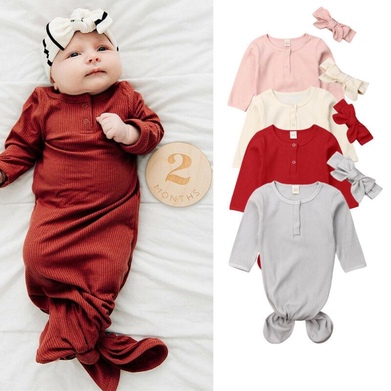 CANIS Infant Newborn Baby Solid Long Sleeve Button Sleeping Bag Sleep Sack Wrap Swaddle Lovely Headband 2Pcs 2019