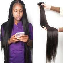 Fashow 30 32 34 36 40 polegada feixes de cabelo em linha reta cabelo brasileiro duplo tramas cabelo humano puro pacotes cor natural remy cabelo