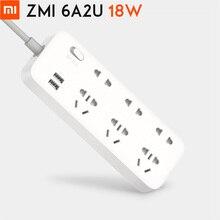 Orijinal Xiaomi ZMI 18W güç şeridi 6 AC prizler [3 beş/iki delikli] 2 USB akıllı çıkış tek parça bakır yükseltme güvenlik