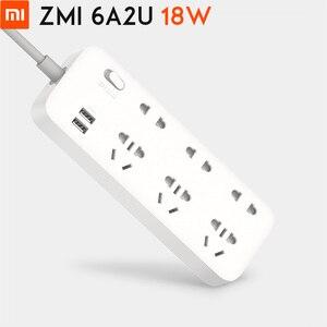 Image 1 - الأصلي شاومي ZMI 18 واط قطاع الطاقة 6 مآخذ التيار المتناوب [3 خمسة/اثنين حفرة] 2 USB الذكية الناتج قطعة واحدة النحاس ترقية السلامة