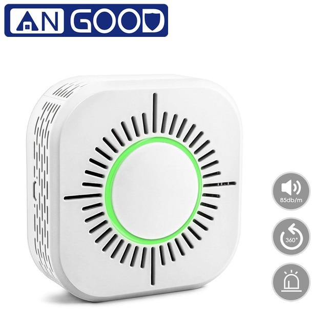 ANGOOD 무선 433MHz 연기 가스 감지기 스마트 센서 홈 보안 360 학위 화재 경보 감지 필요 게이트웨이