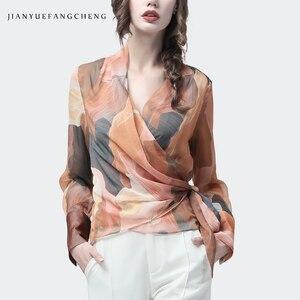 Image 1 - Chiffon Women Top Artistic Orange Print Sexy Slim Blouses Crossed V Neck Long Sleeve Fashion Ladies Summer Autumn Casual Blouse