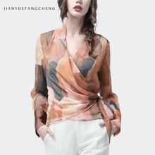 Szyfonowa damska Top artystyczna pomarańczowa nadruk seksowna szczupła bluzka skrzyżowana dekolt w serek z długim rękawem moda damska letnia jesień casualowa bluzka