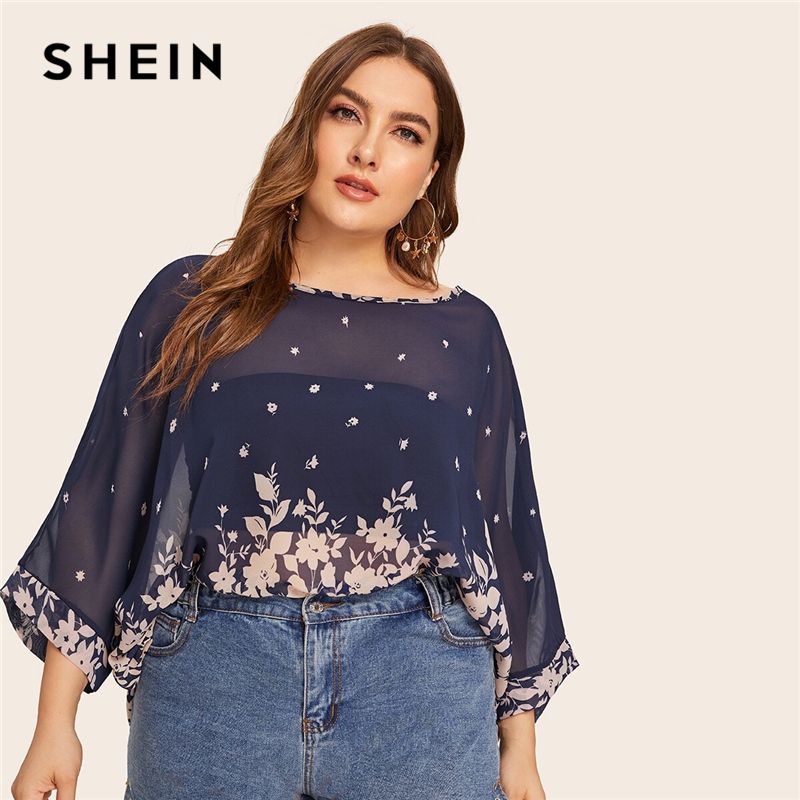 SHEIN Plus Size Navy Floral Print Batwing Sleeve Sheer Blouse Top Women Summer 3/4 Length Sleeve Round Neck Casual Plus Blouses