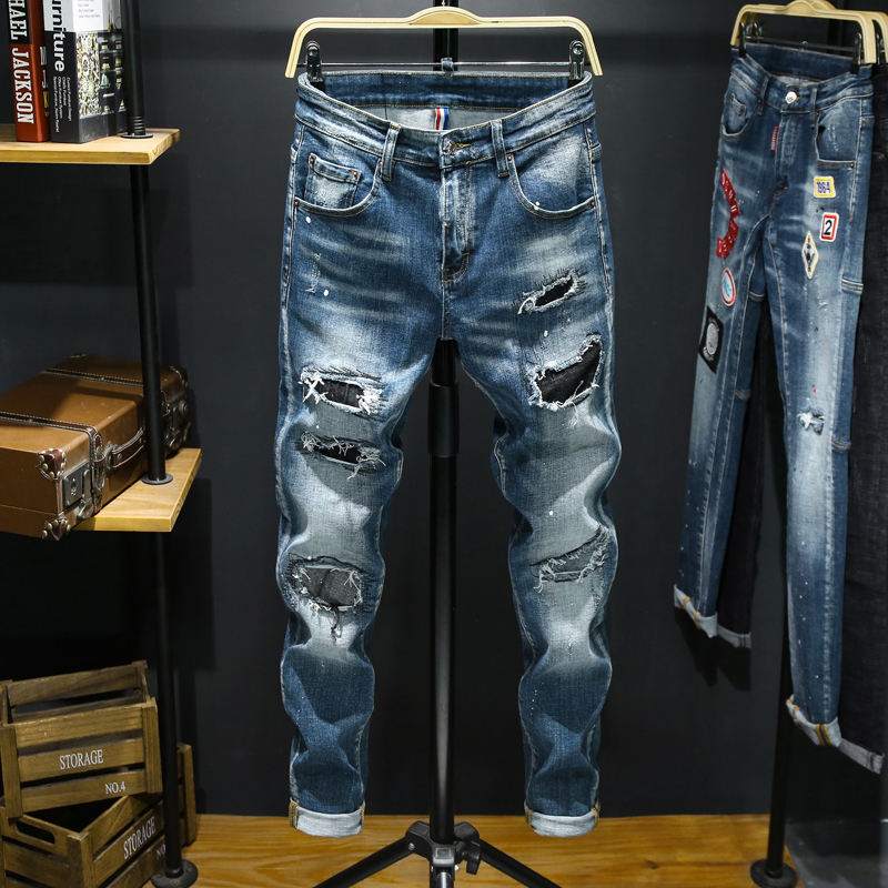 New Jeans Men Ripped Jeans For Men Elastic Skinny Paint Fashion Slim Pants Men Clothes Trousers Hip Hop Streetwear Autumn Blue