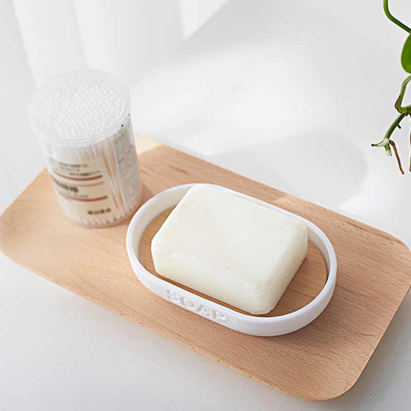 和風竹石鹸箱人格ダブルグリッド排水木製石鹸箱パレットラックコンテナトレイ