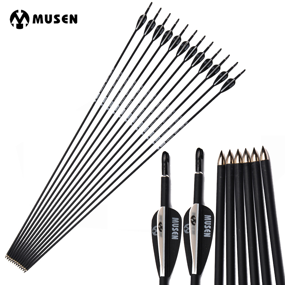 MUSEN 80cm Spine 700/1000 Carbon Arrows With Black And White Feather Compound/Recurve Bow Hunting Archery