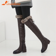 KARINLUNA New Fashion Plus Size 34-48 Winter Warm Fur Over The Knee Boots Women 2019 Thigh High Mature Retro Shoes Woman