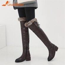 купить KARINLUNA New Fashion Plus Size 34-48 Winter Warm Fur Over The Knee Boots Women 2019 Thigh High Boots Mature Retro Shoes Woman дешево
