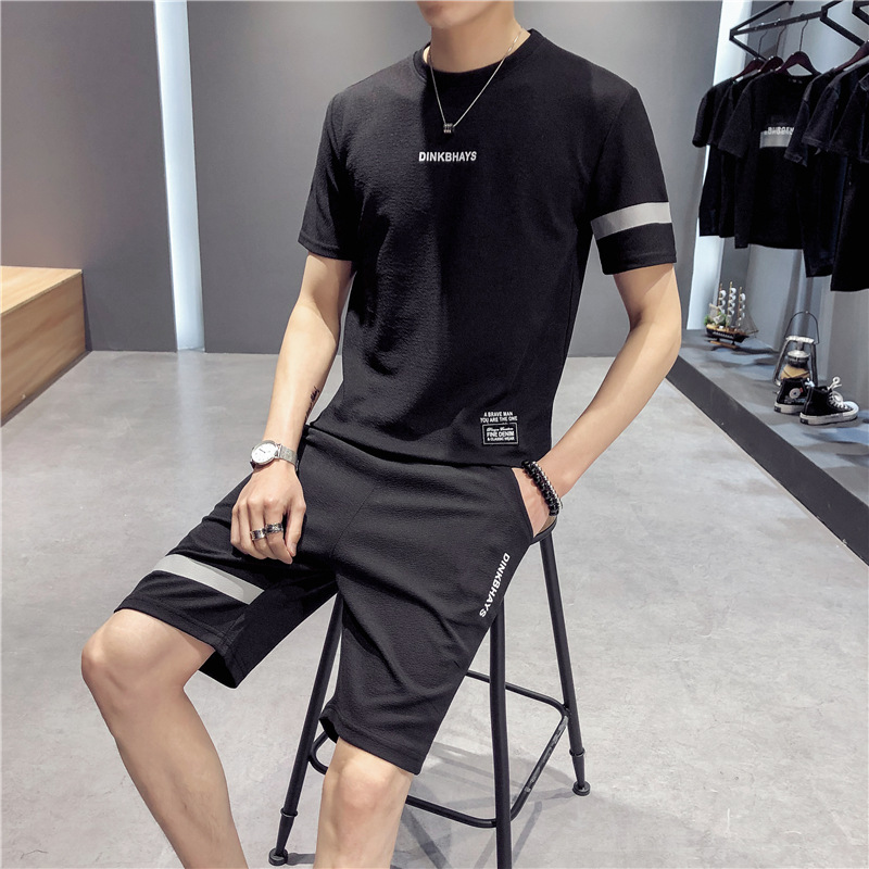 Two-Piece Set Short Sleeve MEN'S T-shirt Loose-Fit Summer 2019 New Style Korean-style Trend Casual MEN'S Suit Popular Brand Clot
